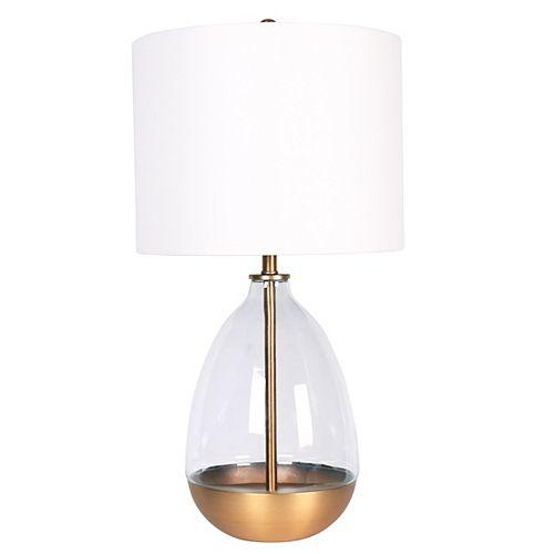 Lampe de table en métal fini Or Brossé et en verre