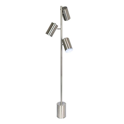 3 light Brushed Steel floor lamp