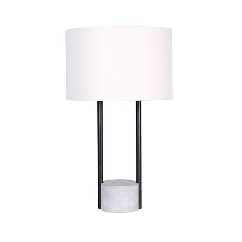 """L2 Lighting Lampe de table 22"""" en ciment et en métal avec abat-jour oval"""