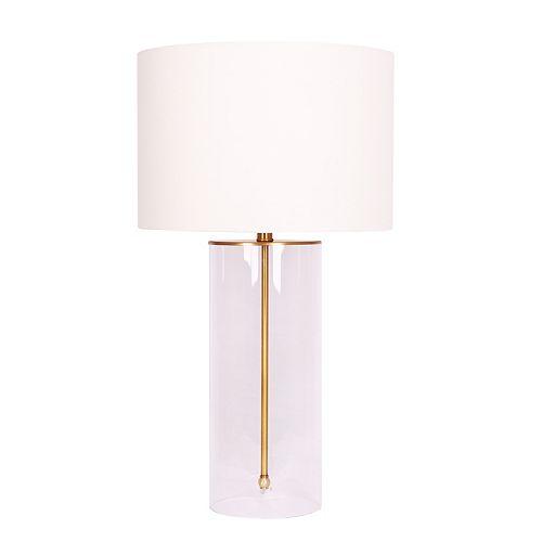 Lampe de table Or Brossé avec cylindre en verre