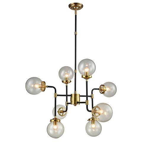Lampe suspendue à 8 lumières fini satin or