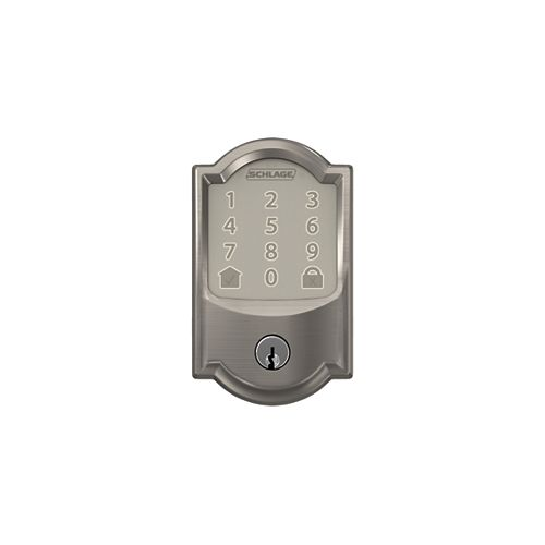 Encode Aged Satin Nickel Electronic Smart WiFi Deadbolt Lock with Camelot Trim Rated AAA