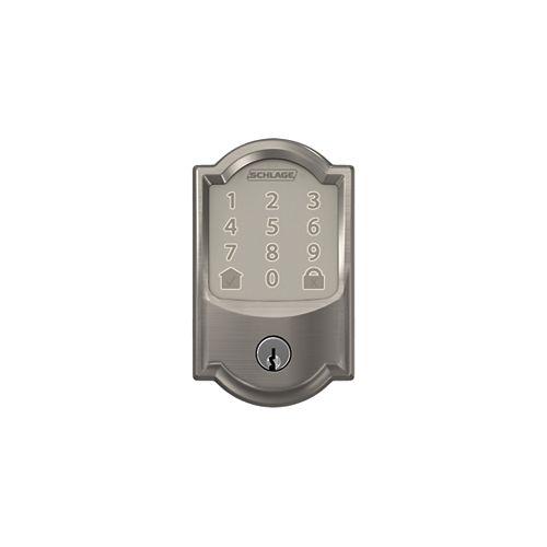 Schlage Encode Smart WiFi Deadbolt lock with Camelot Trim in Satin Nickel