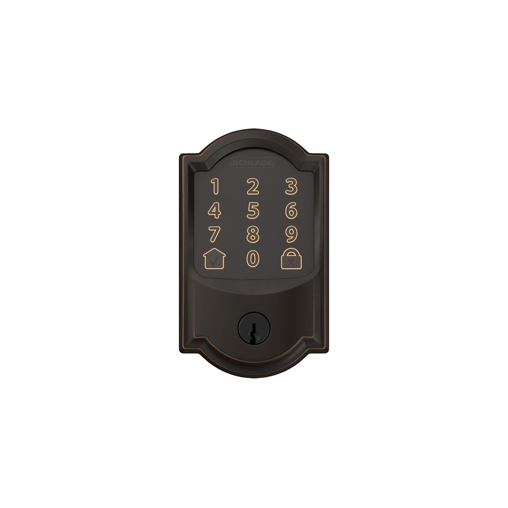 Schlage Encode Aged Bronze Electronic Smart WiFi Deadbolt Lock with Camelot Trim Rated AAA