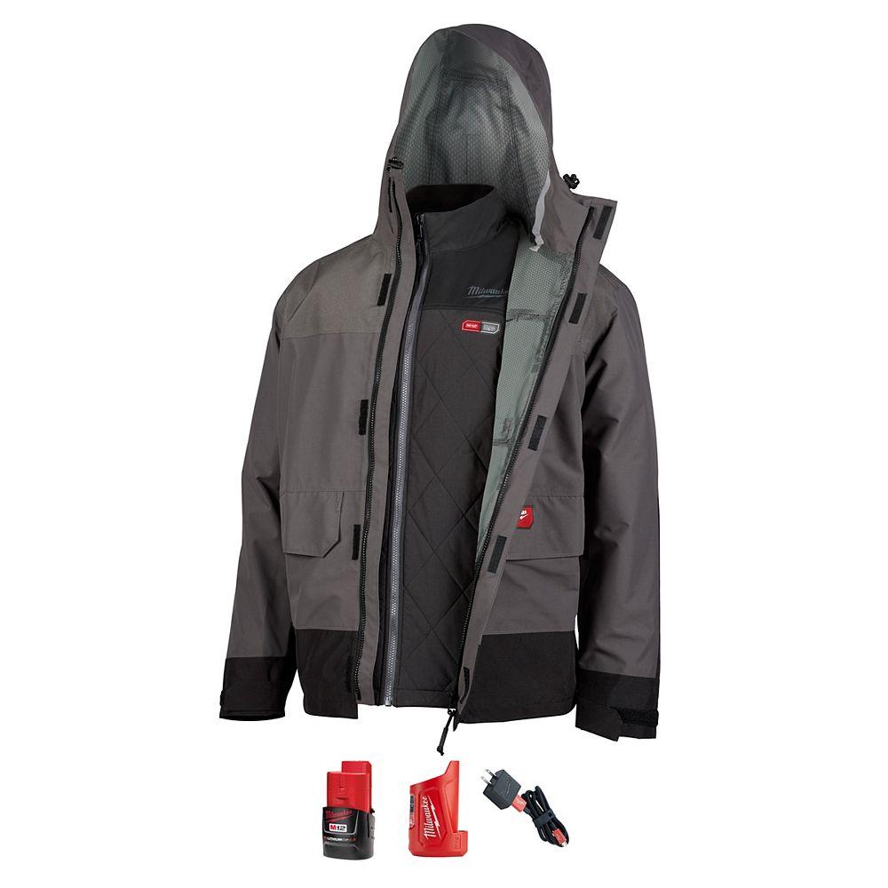 Milwaukee Tool Kit de veste matelassée chauffante M12 12 volts pour homme moyen, enveloppe de pluie grise, batterie et chargeur 2.0Ah