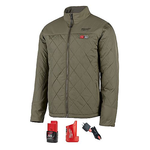 Men's (XL) M12 12V Li-Ion Cordless AXIS Olive Green Heated Quilted Jacket Kit w/2Ah Battery & Charger