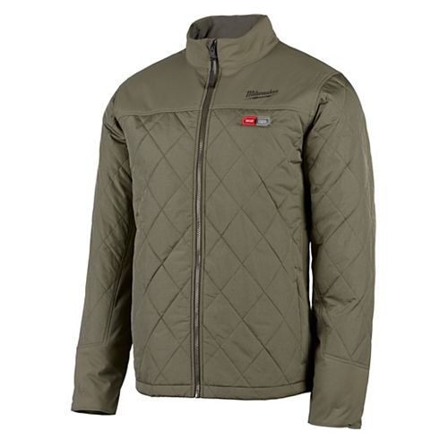 Men's Large M12 12V Lithium-Ion Cordless AXIS Olive Green Heated Quilted Jacket (Jacket Only)