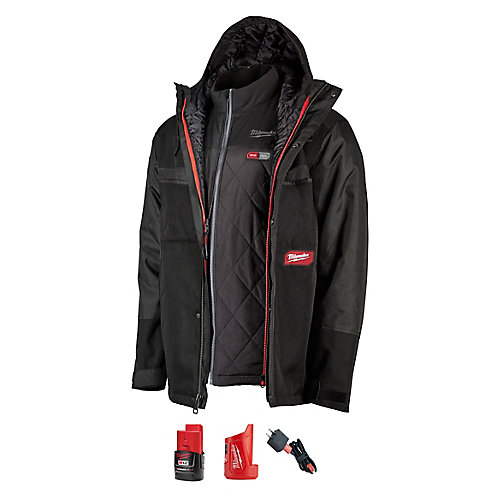 Men's Small M12 12V Li-Ion Cordless Gridiron 3-In-1 AXIS Heated Jacket Kit W/ 2Ah Battery & Charger