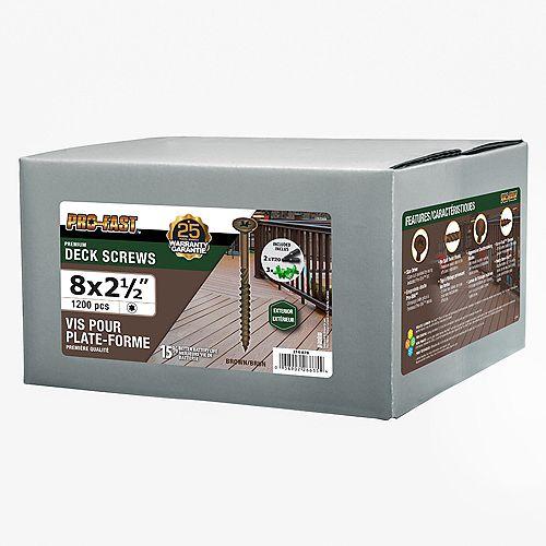 Paulin #8 x 2-1/2-inch Pro Deck Screws Brown - 1200 pcs/box