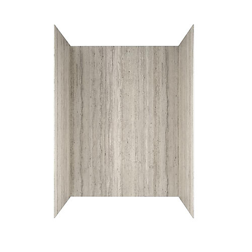 Passage 60 in. x 72 in. 4-Piece Glue-Up Shower Alcove Wall in Pewter Travertine