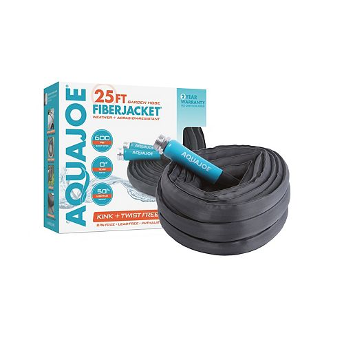 Tuyau d'arrosage non extensible antitorsion Aqua Joe, 25 pi x 5/8 po, gaine en fibre