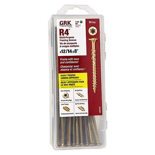 GRK GRK #12-14 x 8-inch GRK R4 Multi-Purpose Framing Screws - 50pcs