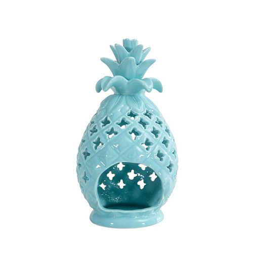 Pineapple Candle Holder in Pastel Turquoise Finish