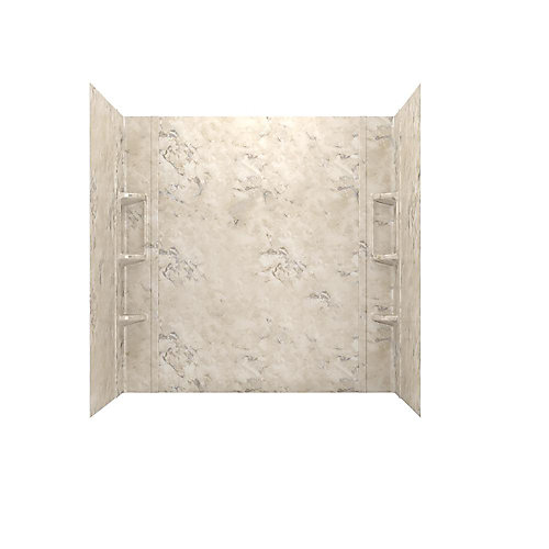 Colony 32 in. x 60 in. 5-Piece Glue-Up Alcove Bath Wall Set in Celestial Marble