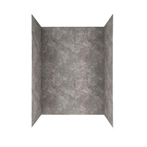 Passage 32 in. x 60 in. 4-Piece Glue-Up Alcove Bath Wall in Gray Concrete
