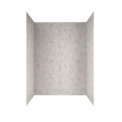 Passage 60 in. x 72 in. 4-Piece Glue-Up Shower Alcove Wall in Platinum Marble