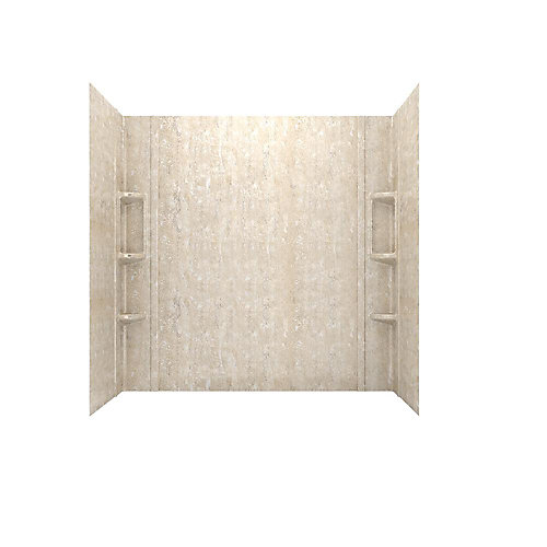 Colony 32 in. x 60 in. 5-Piece Glue-Up Alcove Bath Wall Set in Sand Travertine