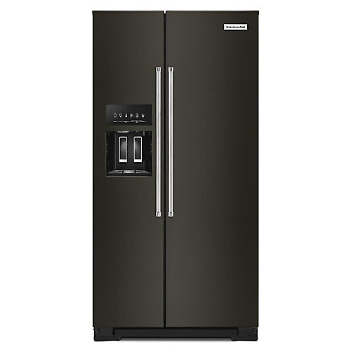 36-inch W 23 cu. ft. Side by Side Refrigerator in Black Stainless Steel, Counter-Depth