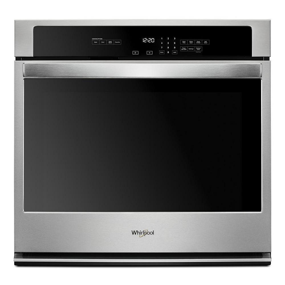 Whirlpool 30-inch W 5 cu. ft. Single Electric Thermal Wall Oven with Self-Cleaning in Stainless Steel
