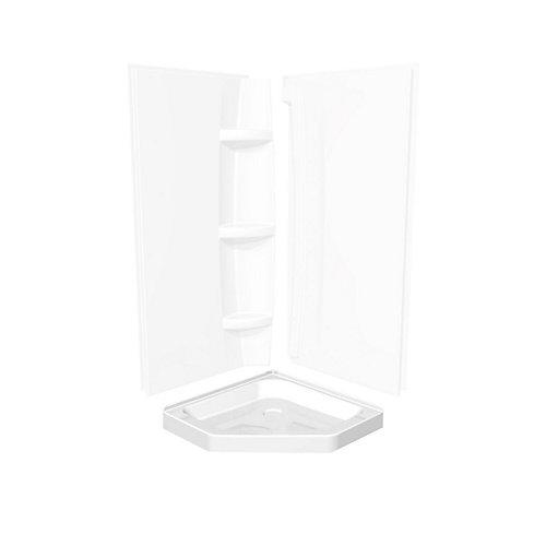 Corner Neo-Angle Base 36-inch x 36-inch x 3-inch Centre Drain in White