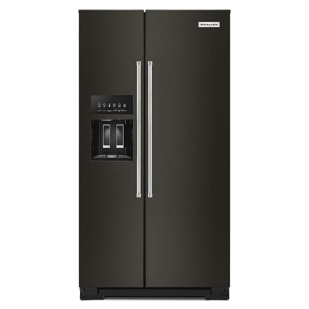 KitchenAid 36-inch W 25 cu. ft. Side by Side Refrigerator in Black Stainless Steel
