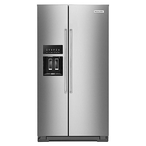 KitchenAid 36-inch W 20 cu. ft. Side by Side Refrigerator in Stainless Steel, Counter-Depth