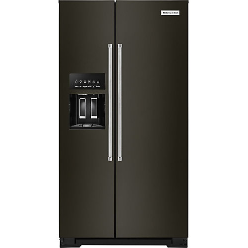 36-inch W 20 cu. ft. Side by Side Refrigerator in Black Stainless Steel, Counter-Depth