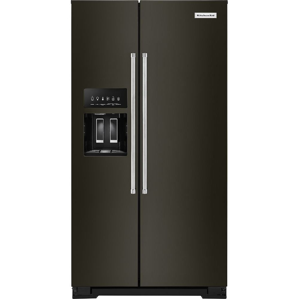 KitchenAid 36-inch W 20 cu. ft. Side by Side Refrigerator in Black Stainless Steel, Counter-Depth