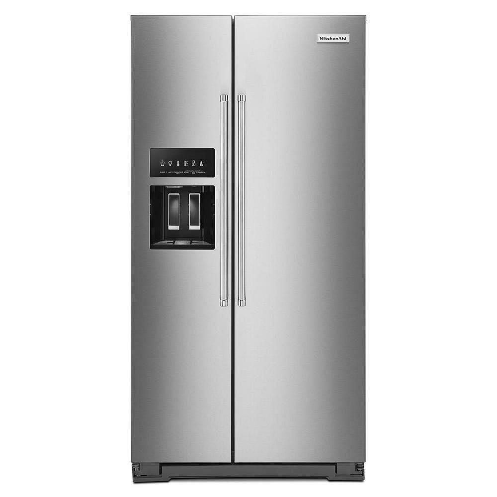 KitchenAid Réfrigérateur de 36 po. 23 pi. cu. côte à côte en acier inoxydable, profondeur de comptoir
