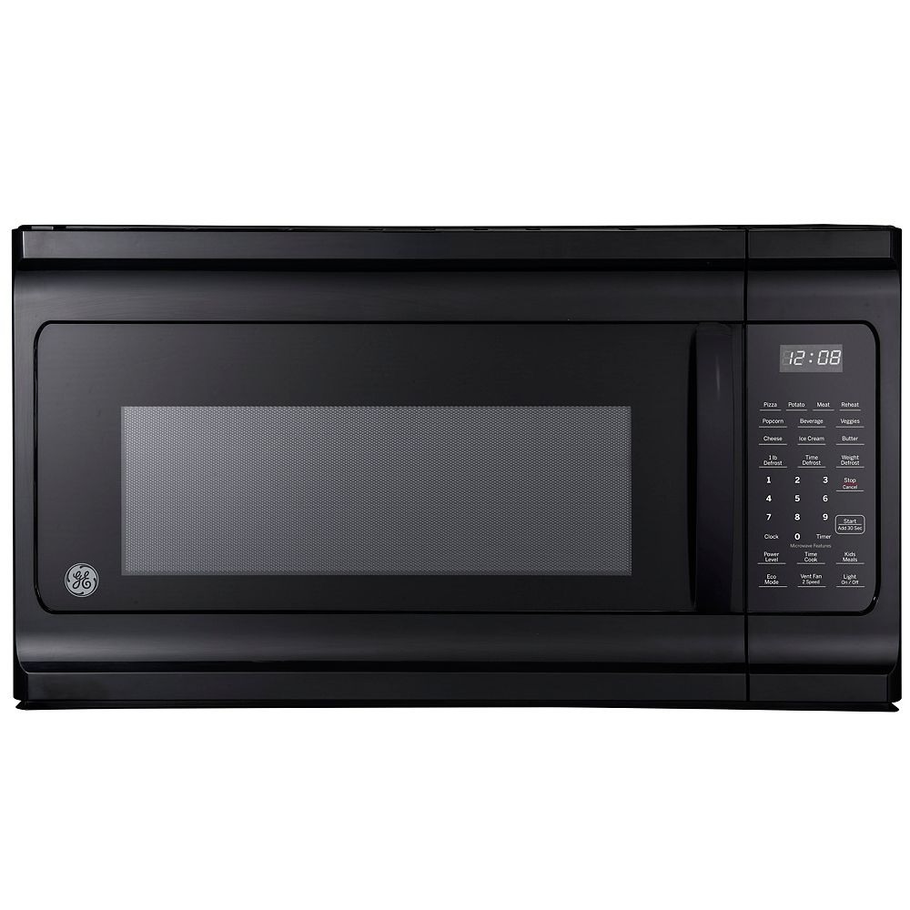 GE 30-inch W 1.6 Cu Ft Over-The-Range Microwave Oven in Black