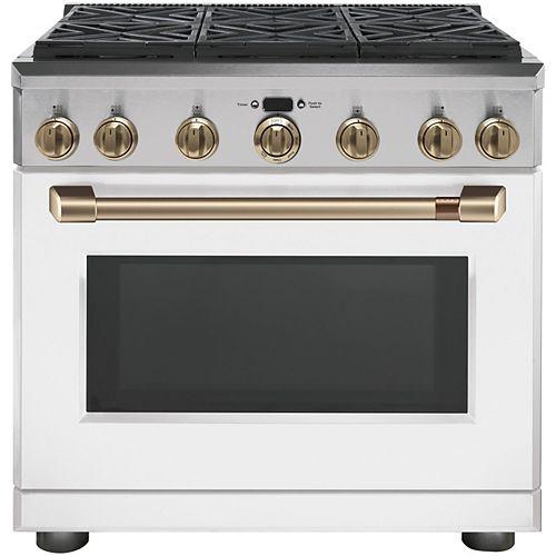 36-inch W 6.2 Cu. ft. Professional Single Oven Gas Range in Matte White