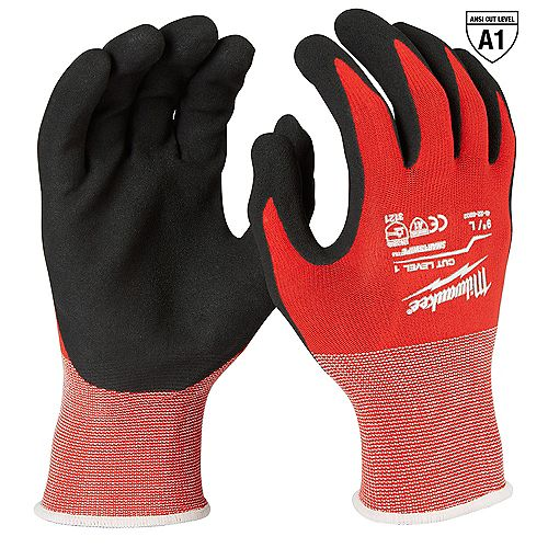 Large Red Nitrile Level 1 Cut Resistant Dipped Work Gloves