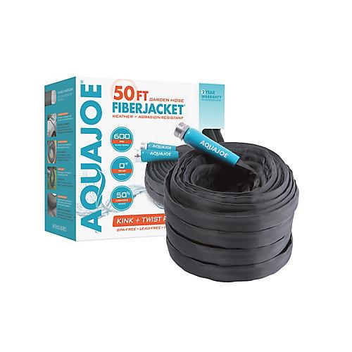 Aqua Joe 50 ft. x 5/8- inch Fiber Jackcet Non-Expanding Kink-Free Garden Hose