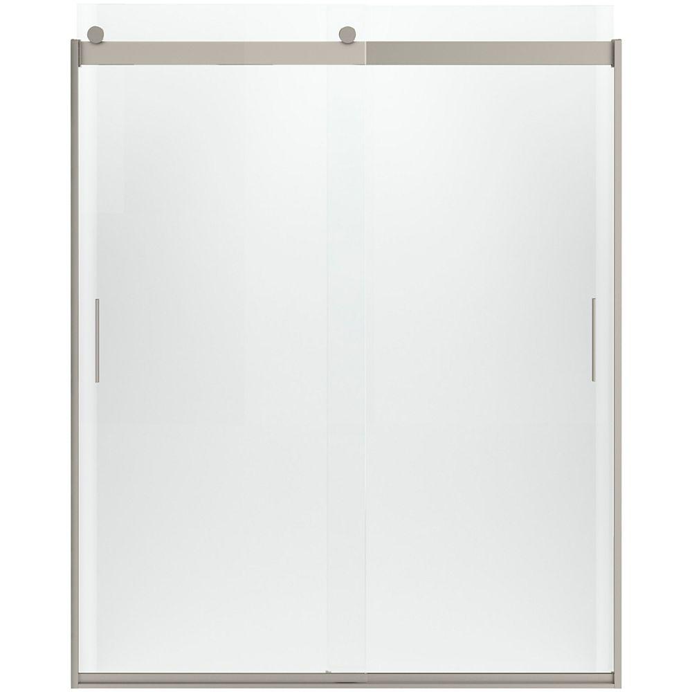 "KOHLER Sliding shower door, 59-5/8"" W, 3/8"" thick Crystal Clear glass in Brushed Nickel"