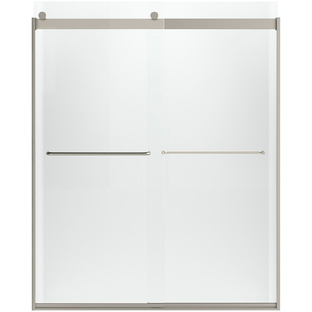 "KOHLER Sliding shower door, 74"" H x 56-5/8 - 59-5/8"" W, with 1/4"" Crystal Clear glass"