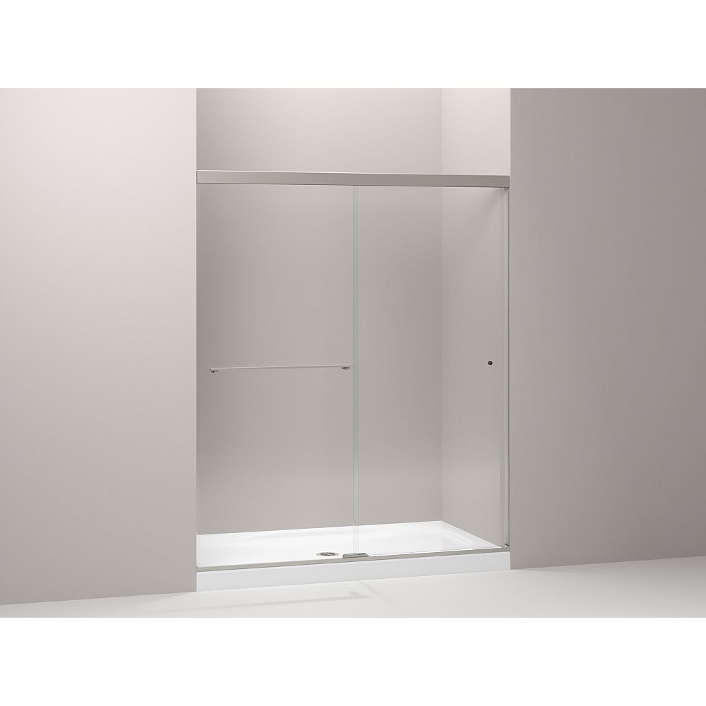 "KOHLER Sliding shower door with 1/4"" thick Crystal Clear glass in Anodized Brushed Nickel"