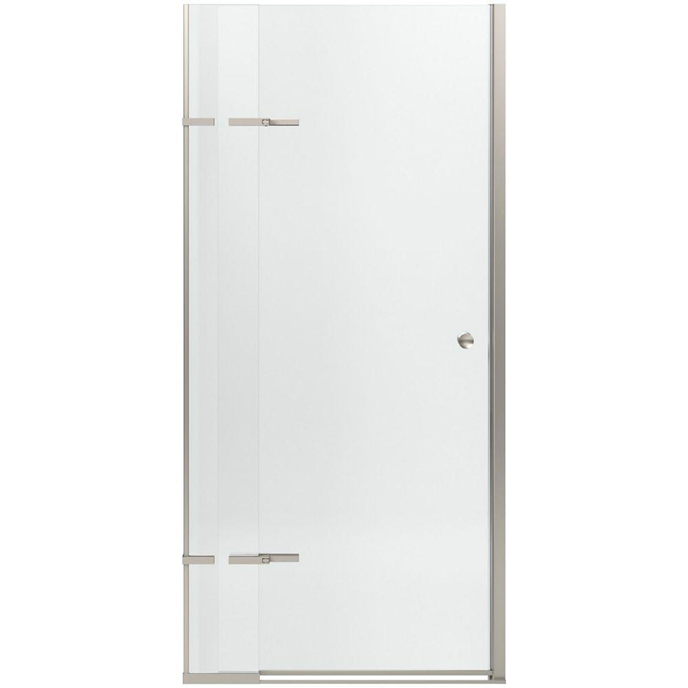 KOHLER Pivoting shower door with adjustable hinges in Matte Nickel