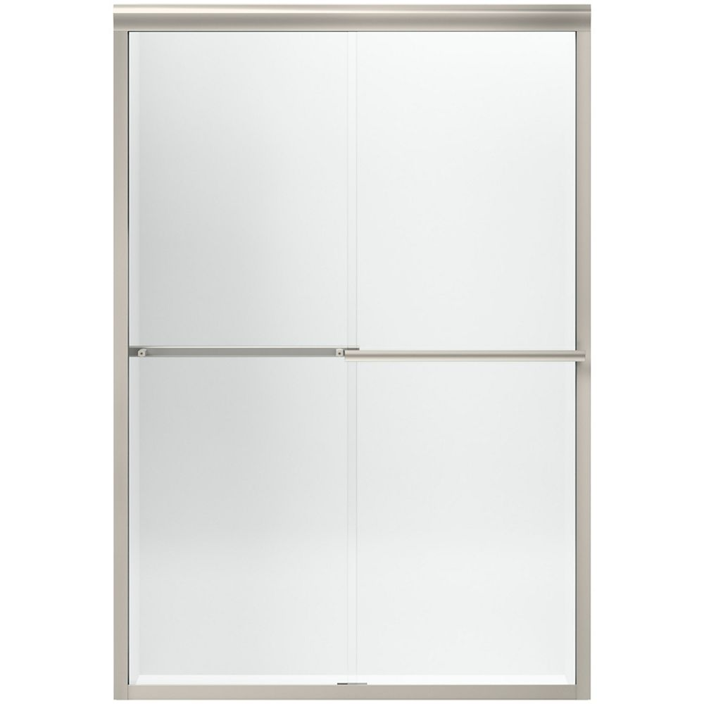 "KOHLER Sliding shower door, 47-5/8"" W with 1/4"" thick Crystal Clear glass in Matte Nickel"
