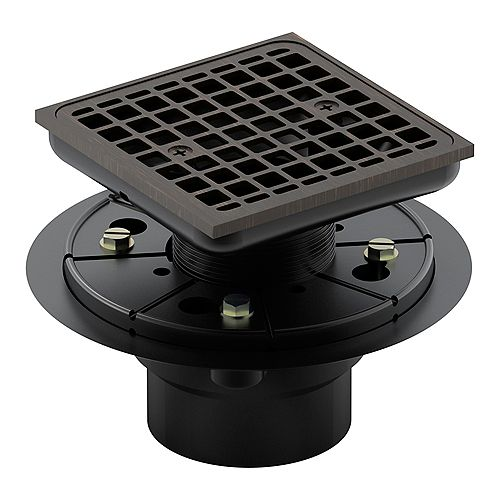Square design tile-in shower drain in Oil-Rubbed Bronze