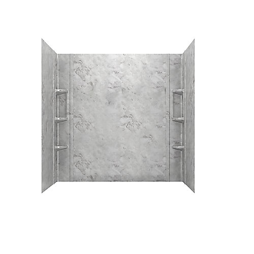 Colony 32 in. x 60 in. 5-Piece Glue-Up Alcove Bath Wall Set in Silver Celestial