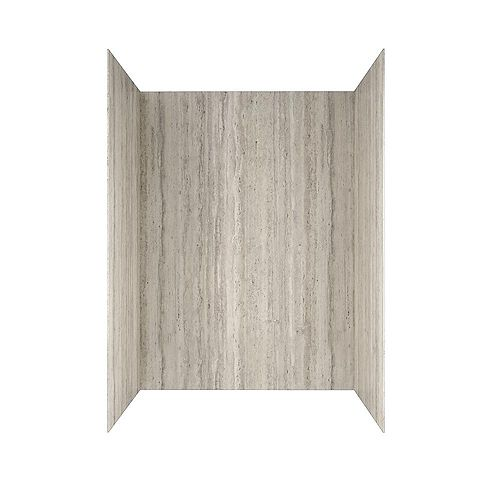 Passage 32 in. x 60 in. 4-Piece Glue-Up Alcove Bath Wall in Pewter Travertine