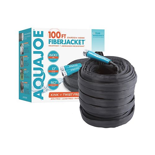 Sun Joe Tuyau d'arrosage non extensible antitorsion Aqua Joe, 100 pi x 5/8 po, gaine en fibre