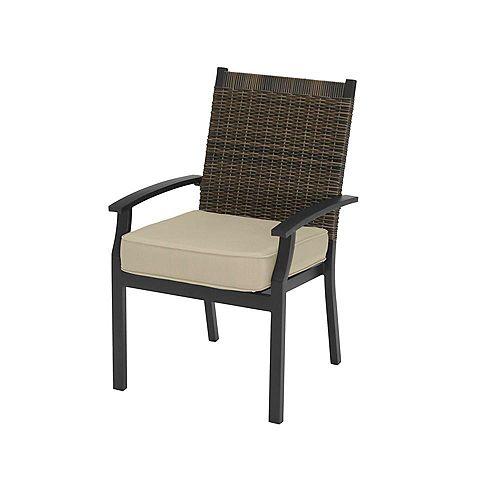Hampton Bay Jasper Ridge Galvanized Steel Wicker Back Stationary Patio Dining Chair in Brown with Standard Tan Cushion (Set of 2)