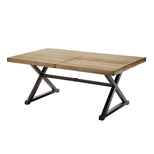 Mix and Match 72-inch Rectangular Metal Outdoor Dining Table with Farmhouse Trestle Base and Tile Tabletop