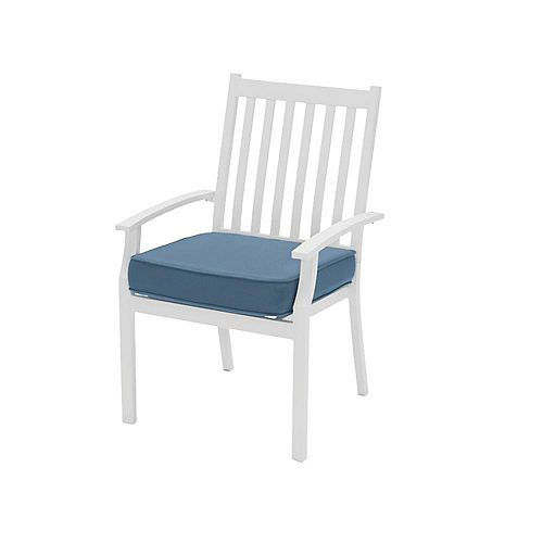 Jasper Ridge Galvanized Steel Slat Back Stationary Outdoor Patio Dining Chair in White with Standard Blue Cushion (Set of 2)