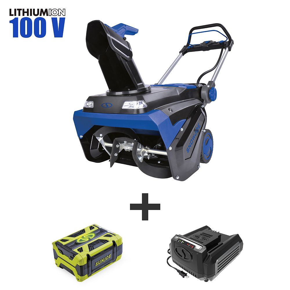 Snow Joe 21-inch 100V Brushless Lithium-iON Single Stage Cordless Electric Snowblower Kit with 5.0 Ah Battery + Charger