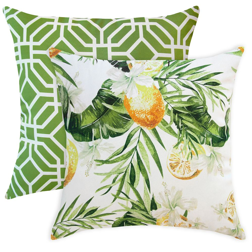 HFI 20 inch x 20 inch Lemons and Palms Outdoor Throw Pillow Set ...
