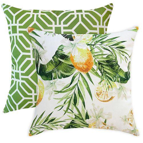 Coussin décoratif d'extérieur à motif de citron et de palmier, 20 po x 20 po, ens. de 2
