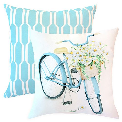 20-inch x 20-inch Floral Bike Outdoor Throw Pillow (Set of 2)
