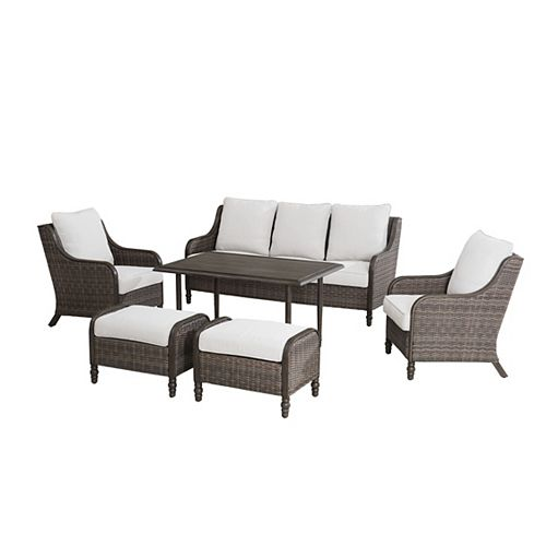 Windsor 6-Piece Wicker Patio Conversation Seating Set Brown with CushionGuard Biscuit Tan Cushions